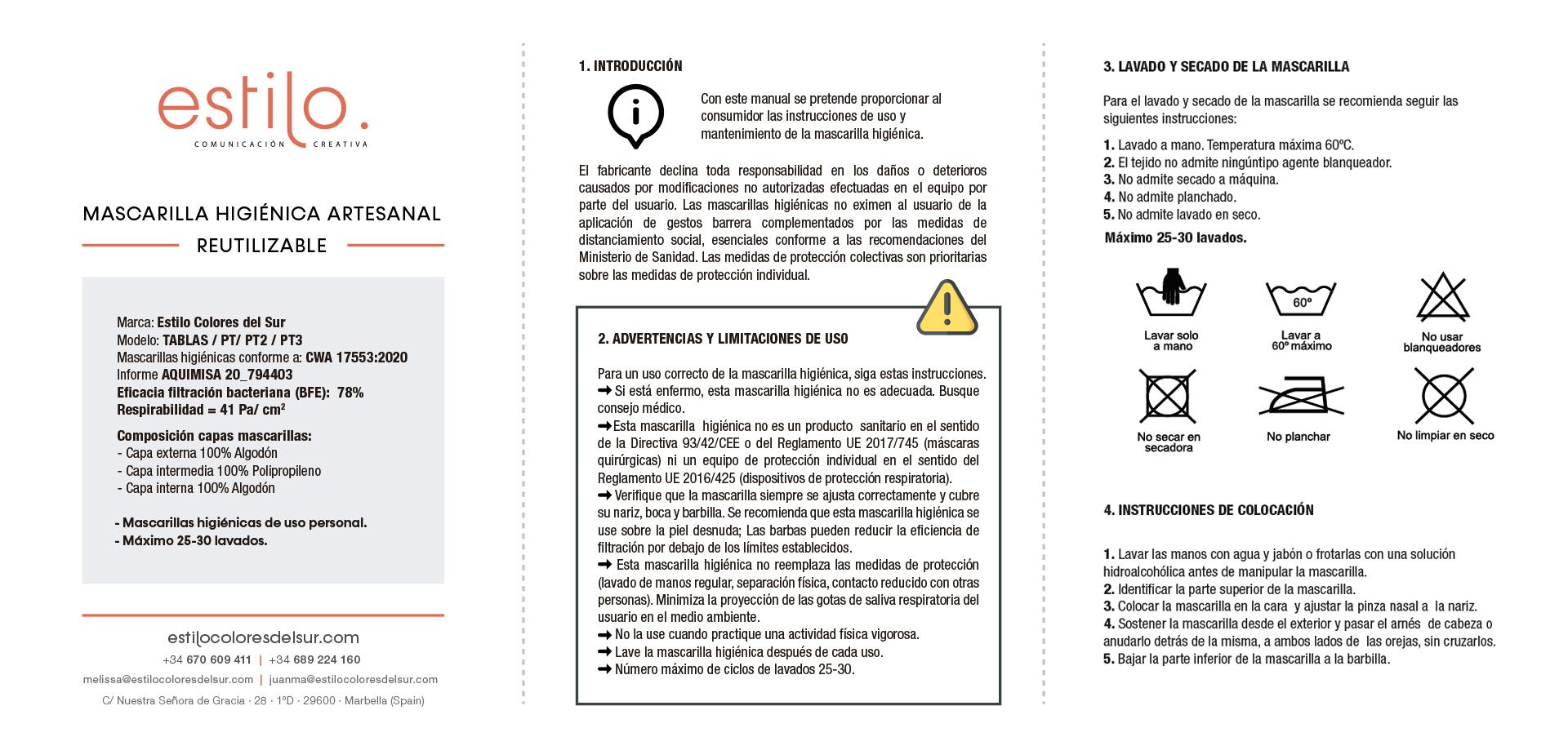 Instrucciones Mascarillas Estilo 1